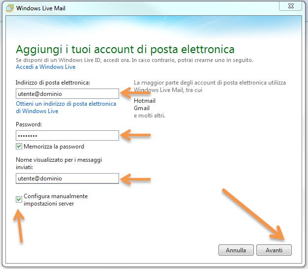 Come configurare la posta elettronica pec su Live Mail